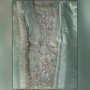 Pastel mint green fancy bridal engagemnt/partwear